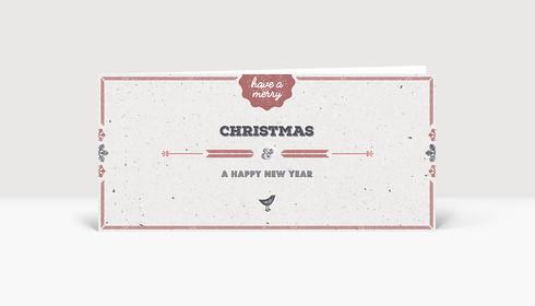 Weihnachtskarte Vogelgezwitscher rot DIN Lang englisch