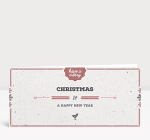 Weihnachtskarte Vogelgezwitscher rot englisch