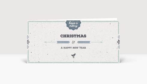 Weihnachtskarte Vogelgezwitscher blau DIN Lang englisch