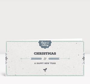 Weihnachtskarte Vogelgezwitscher blau englisch