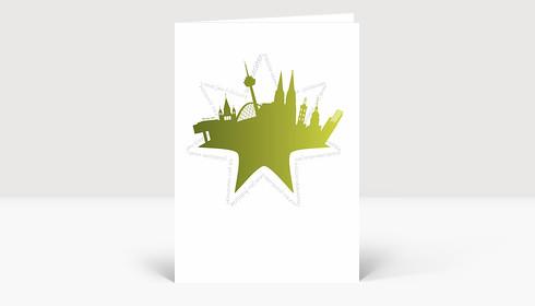 Weihnachtskarte Köln Collage grün mit Stern von Weihnachtsgrüßen umrundet