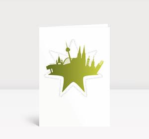 Weihnachtskarte Köln Stern grün