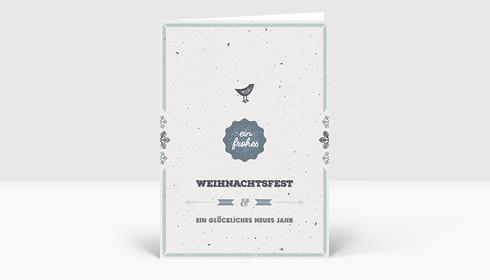 Weihnachtskarte Vogelgezwitscher blau deutsch