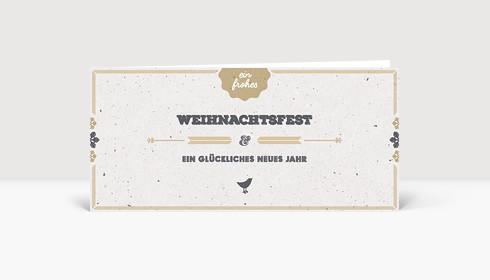 Weihnachtskarte Vogelgezwitscher gold deutsch DIN Lang