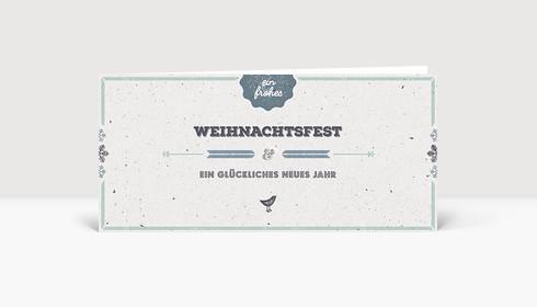 Weihnachtskarte Vogelgezwitscher blau deutsch DIN Lang