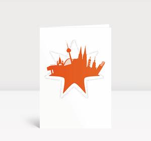 Weihnachtskarte Köln Stern orange