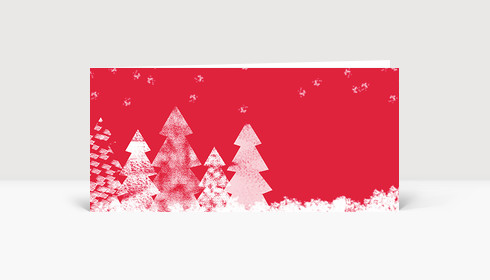 Weihnachtskarte Baumstrukturen Rot