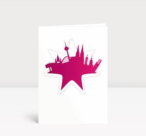 Weihnachtskarte Köln Stern violett