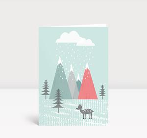 Weihnachtskarte Reh vor Bergen