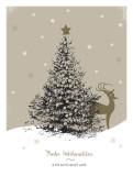Weihnachtskarte Weihnachtsbaum mit Reh nostalgisch