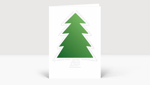 Weihnachtskarte Grüner Baum von Schrift umrundet