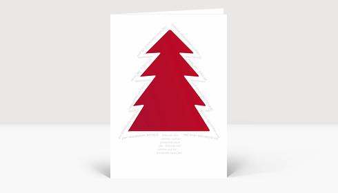 Weihnachtskarte Roter Baum von Schrift umrundet
