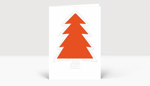 Weihnachtskarte Orangener Baum von Schrift umrundet