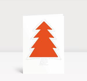Weihnachtskarte Orangener Baum Typo