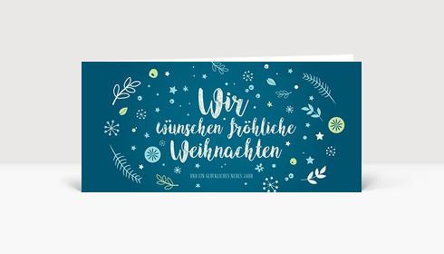 Weihnachtskarte Weihnachtswunschkugel Blau DIN Lang