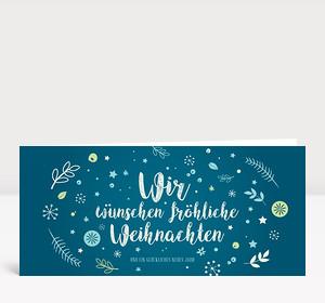Weihnachtskarte Weihnachtswunschkugel Blau