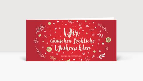 Weihnachtskarte Weihnachtswunschkugel Rot DIN Lang