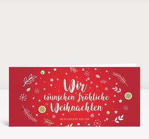 Weihnachtskarte Weihnachtswunschkugel Rot