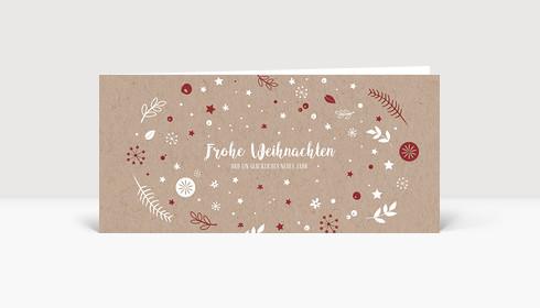 Weihnachtskarte Weihnachtswunschkugel Karton Rot DIN Lang