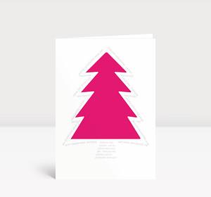Weihnachtskarte Pinker Baum Typo