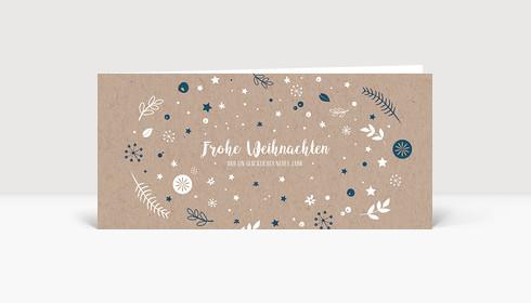 Weihnachtskarte Weihnachtswunschkugel Karton Blau DIN Lang