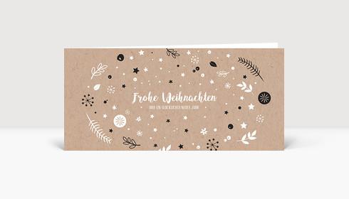 Weihnachtskarte Weihnachtswunschkugel Karton Dunkelgrau DIN Lang