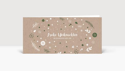 Weihnachtskarte Weihnachtswunschkugel Karton Moosgrün DIN Lang