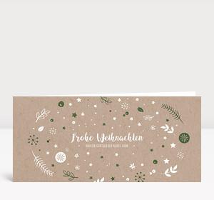 Weihnachtskarte Weihnachtswunschkugel Karton Moosgrün