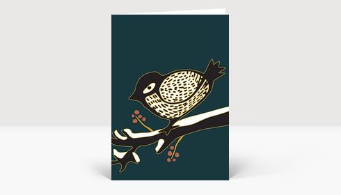 Weihnachtskarte Kleiner Wintervogel