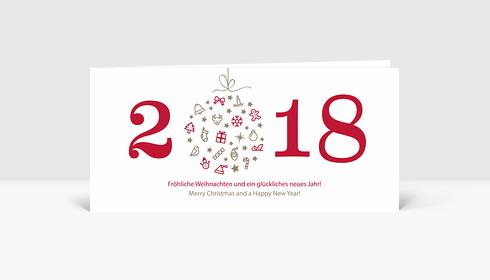 Weihnachtskarte Weihnachtskugel 2018 rot