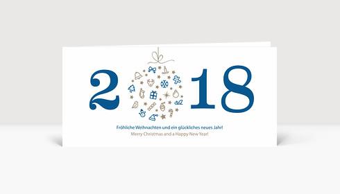 Weihnachtskarte Weihnachtskugel 2018 blau
