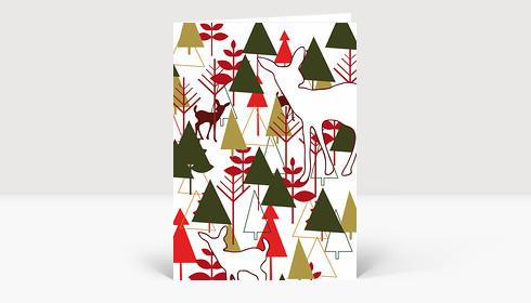 Weihnachtskarte Wald mit Rehkitz