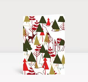 Weihnachtskarte Rehkitz + Wald