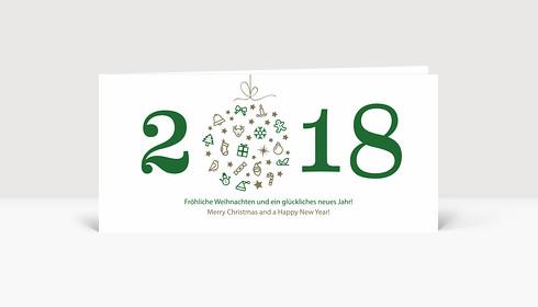 Weihnachtskarte Weihnachtskugel 2018 grün
