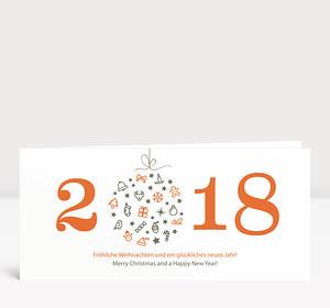 Weihnachtskarte Weihnachtskugel 2018 orange