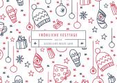 Weihnachtskarte Fröhliche Festtage Rot-Blau