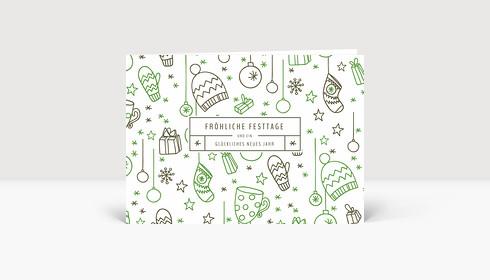 Weihnachtskarte Fröhliche Festtage Grün-Grau