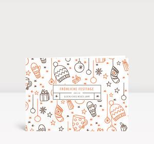 Weihnachtskarte Fröhliche Festtage Orange-Grau