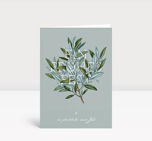 Weihnachtskarte Weihnachtszweig graublau