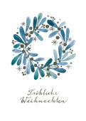 Weihnachtskarte Weihnachtskranz blau