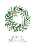 Weihnachtskarte Weihnachtskranz grün