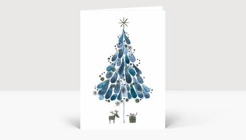 Weihnachtskarte Tuschebaum blau