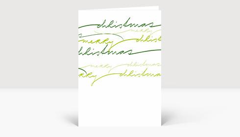 Weihnachtskarte Merry Christmas grüne geschwungene Lettern