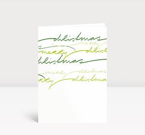 Weihnachtskarte Geschwungene Lettern grün