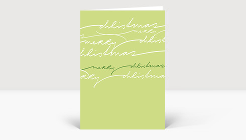 Weihnachtskarte Merry Christmas geschwungene Lettern auf grün