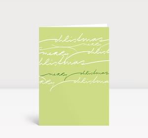 Weihnachtskarte Geschwungene Lettern auf grün