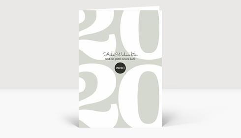 Weihnachtskarte Typoart 2019 grüngrau