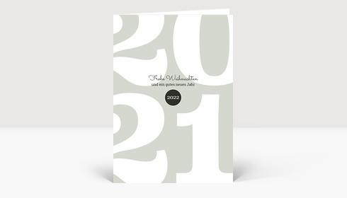Weihnachtskarte Typoart 2021 grüngrau