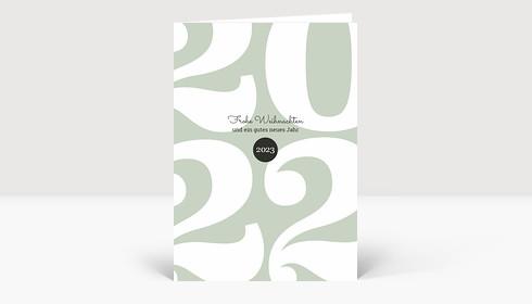 Weihnachtskarte Typoart 2022 grüngrau