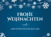 Weihnachtskarte Schneekristalle blau